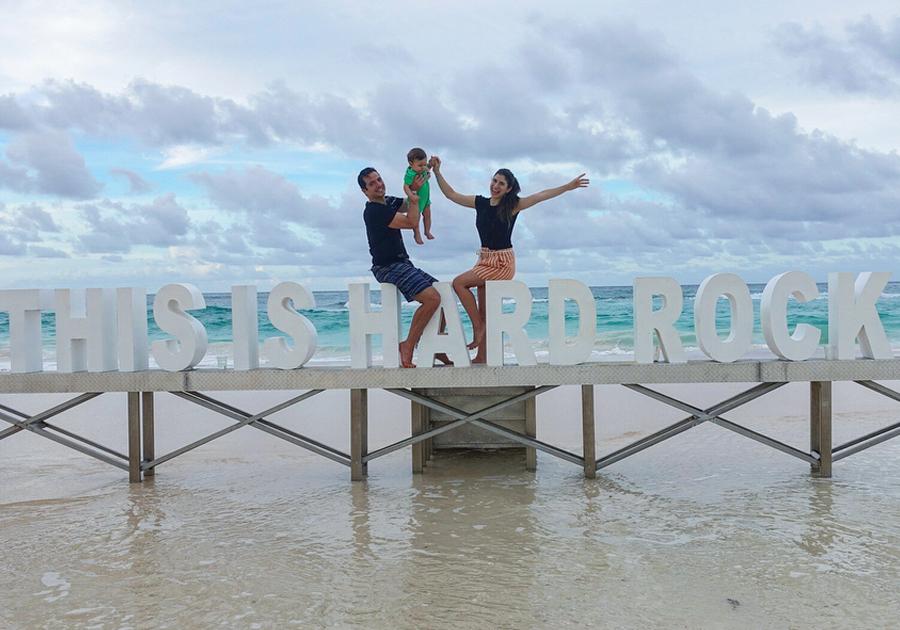Themis Briand leva a família para curtir o litoral paradisíaco de Punta Cana